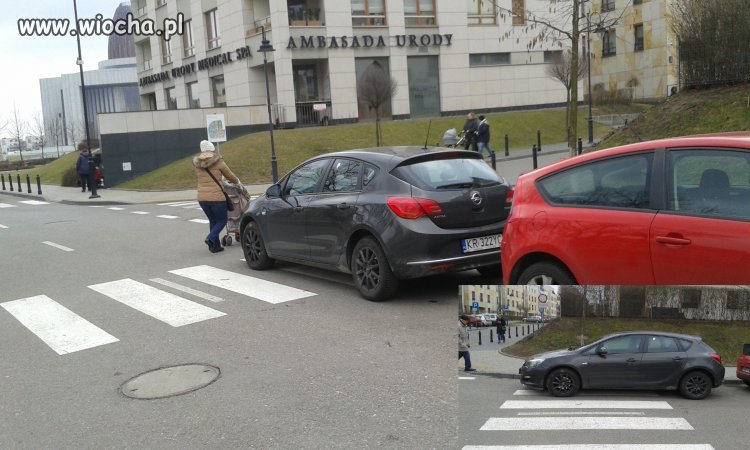 Wie�niak zaparkowa� na przej�ciu dla pieszych