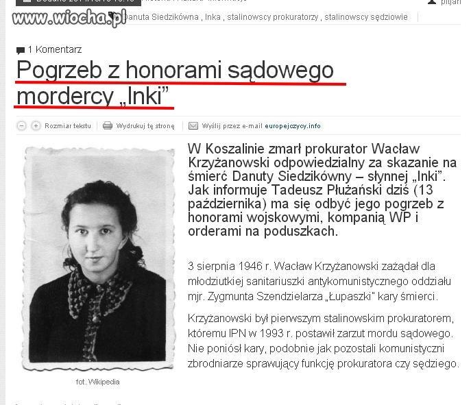 Kolejny stalinowski bandyta pochowany z honorami.