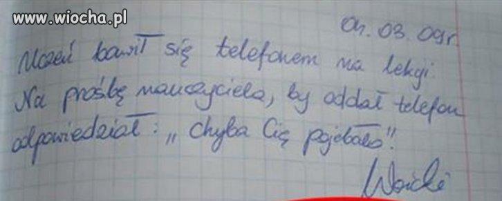 Kiedyś za taki tekst, strzał w łeb od nauczyciela