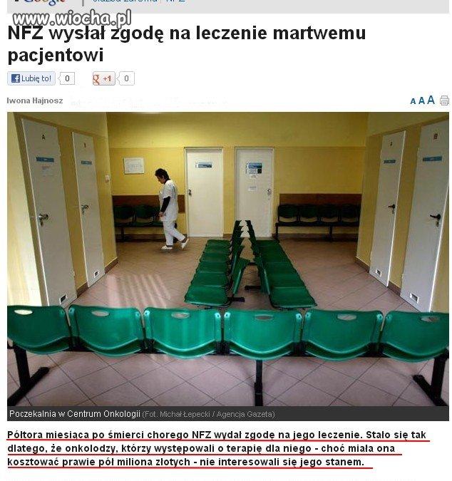 NFZ zgodził się na leczenie martwego pacjenta.