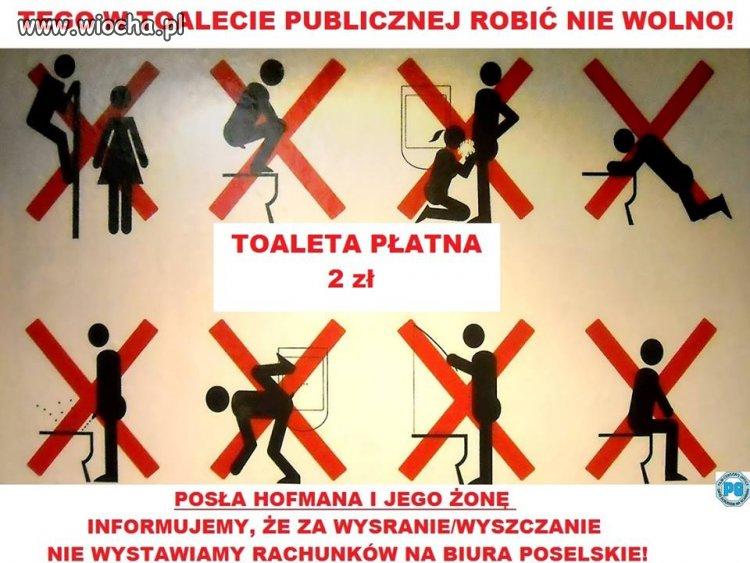 Tego w toalecie publicznej robić nie wolno!