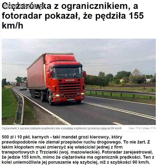 155km/h ciężarówką z ogranicznikiem