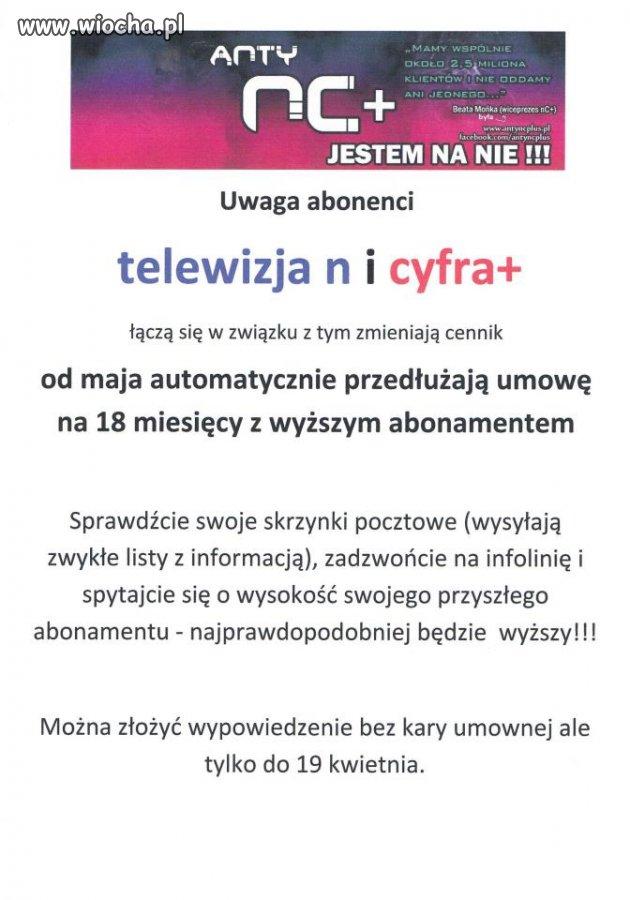 """UWAGA UŻYTKOWNICY TELEWIZJI """"N"""" I """"CYFRA+""""!!!"""