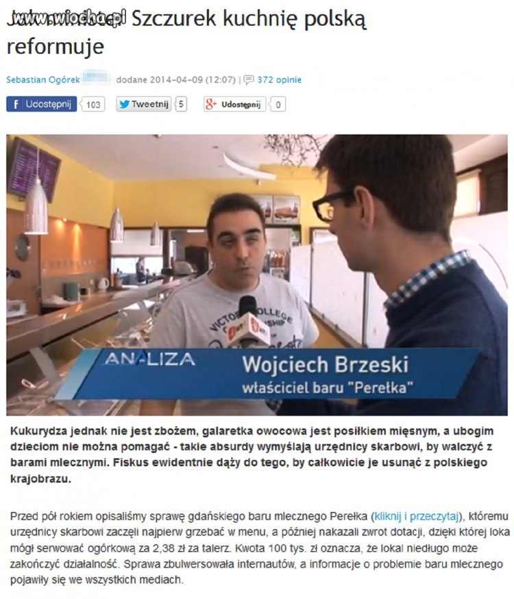 Minister Szczurek reformuje polsk� kuchni� ..