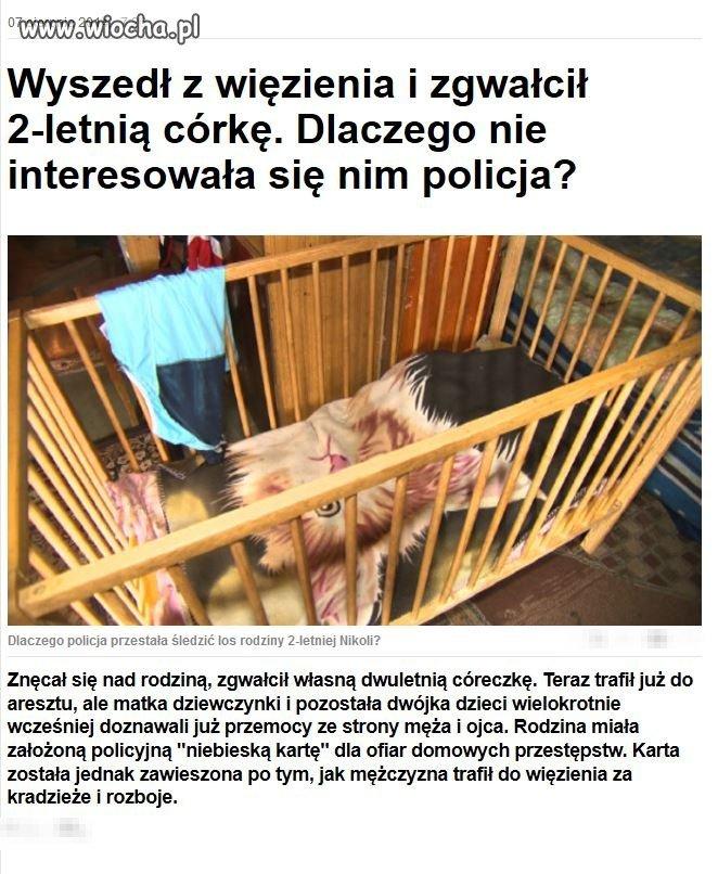 Zwyrodniały ojciec zgwałcił swoją 2 letnią córkę