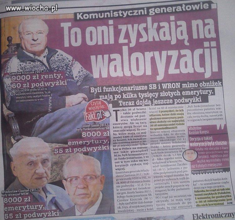 Kiszczak 9000 zł renty