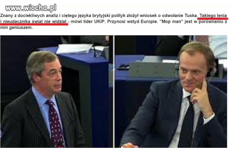 Unia rzyga Tuskiem..ale my zwrot�w nie przyjmujemy