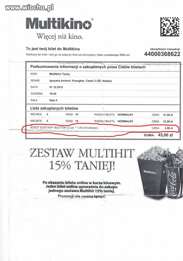 2 zł za dostarczenie biletów przez Multikino...