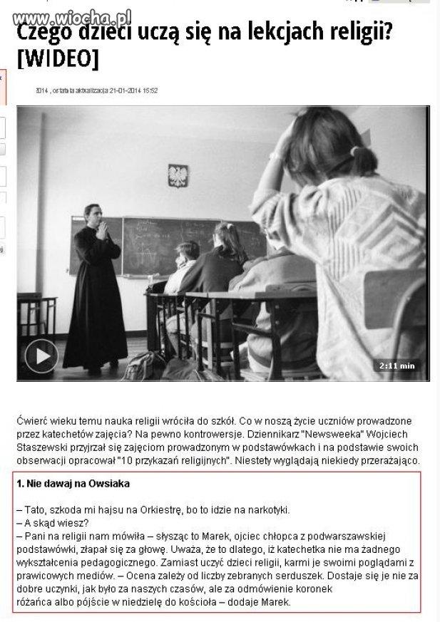 Czego dzieci uczą się na lekcjach religii...