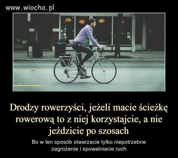 Sam jeżdżę autem i rowerem