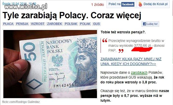 Tyle zarabiają Polacy.