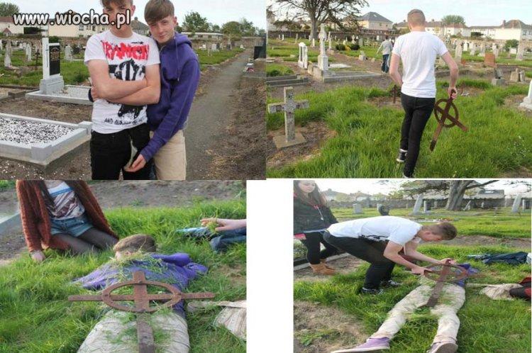 Urządzili sobie zabawę na cmentarzu...