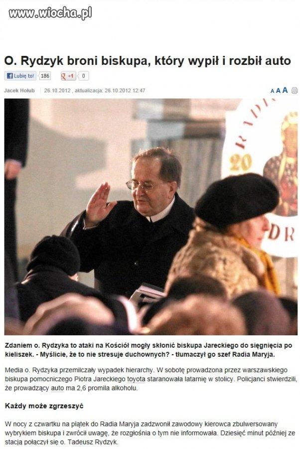 Rydzyk broni pijanego biskupa...to stres w pracy...