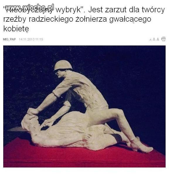 To jest rzeźba gwałconej kobiety, a nie żołnierza