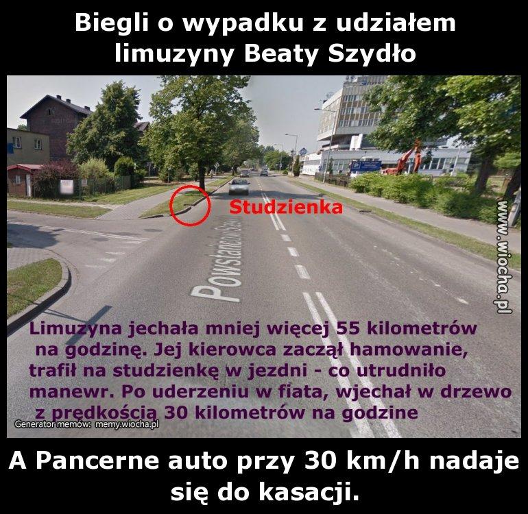 Biegli o wypadku z udziałem limuzyny Beaty Szydło