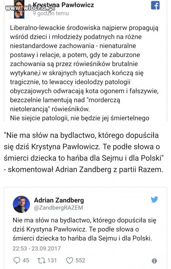 Skandaliczny wpis Pawłowicz nt. śmierci 14-latka.