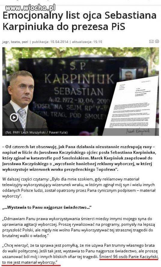 Śmierć 96 osób Panie Kaczyński, to nie jest materiał
