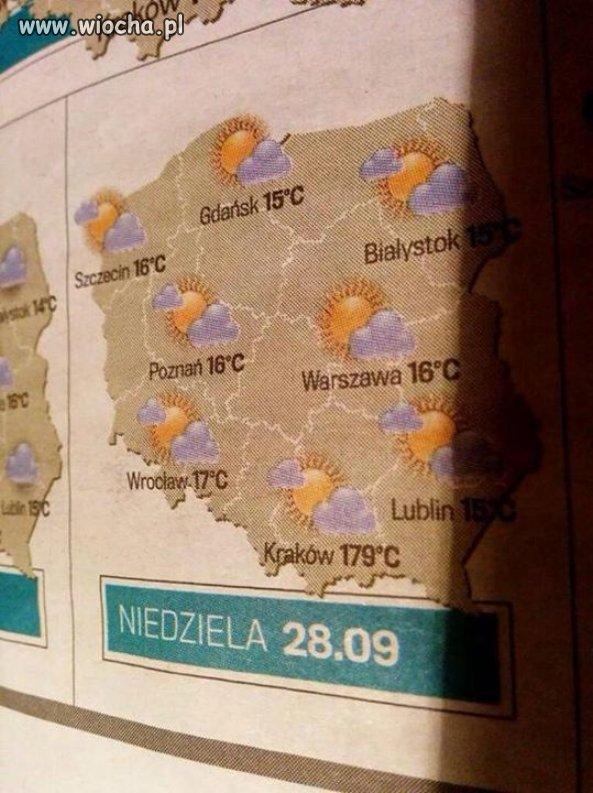 Tymczasem w Krakowie 179 stopni