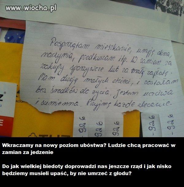Smutne ogłoszenie znalezione w jednym z polskich miast