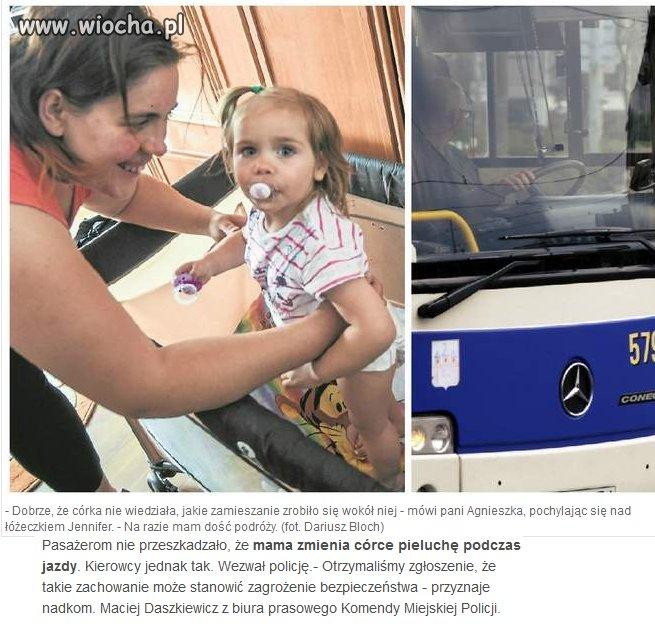Kierowca wezwał policję bo dziecko zrobiło kupę