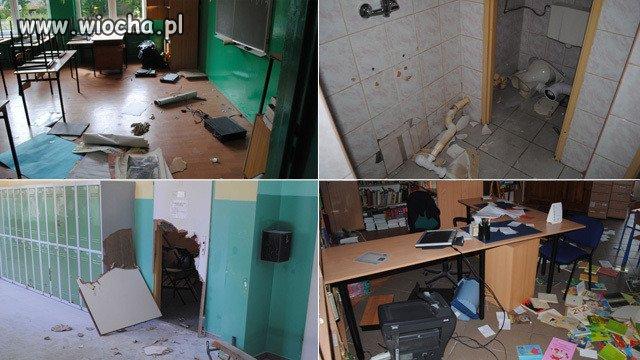 Tak wyglądała szkoła po tym, jak zniszczyli ją wandale.