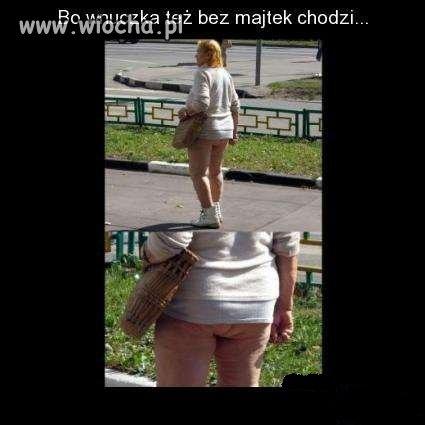 Starsza pani bez majtek na spacerze