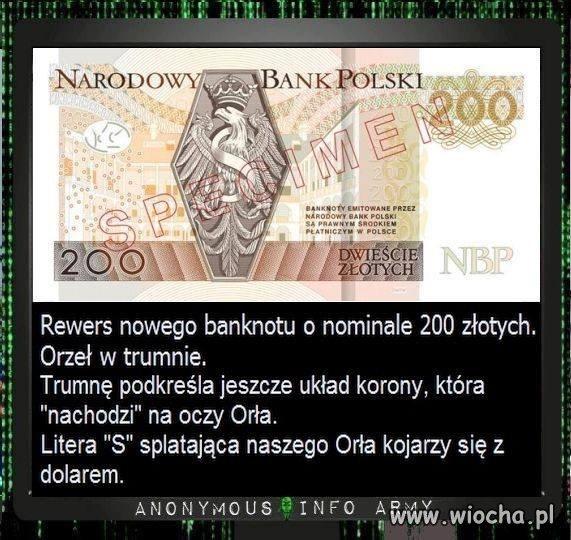 Polski banknot 200zł VS Anonimowi