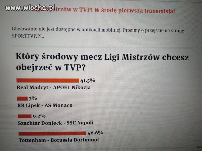 Liga mistrzów w TVP na 104%