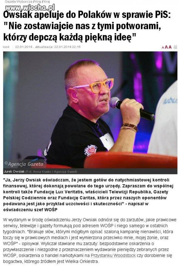 Owsiak apeluje do Polaków !!!