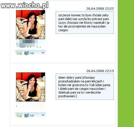Komentarz w profilu polonistki.