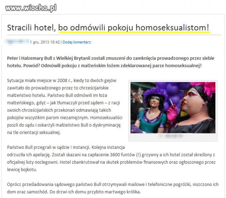 Stracili hotel bo odmówili homoseksualistom