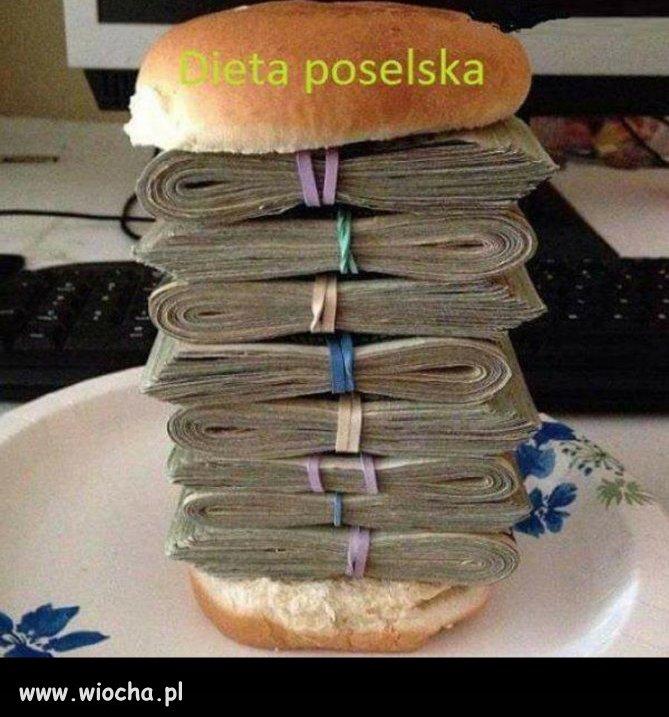 Tak wygląda dieta poselska.