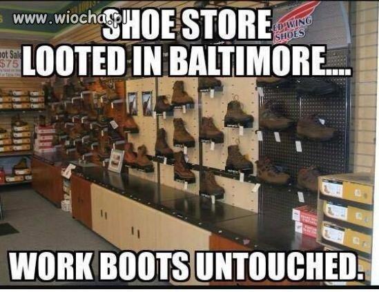 Obrabowany sklep z butami w Baltimore