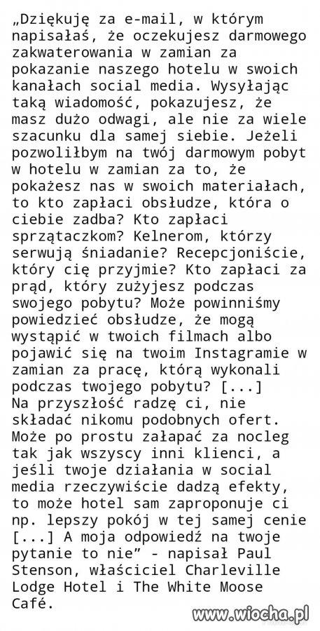 Blogerka zaproponowała właścicielowi hotelu