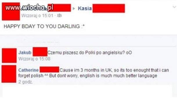 3 miechy w UK i polskiego zapomniała