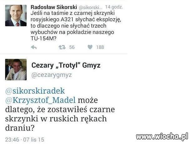 Gmyz masakruje Sikorskiego na Twitterze