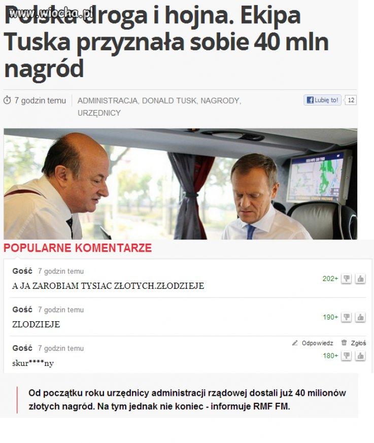 Ekipa Tuska przyznała sobie 40 mln zł nagród