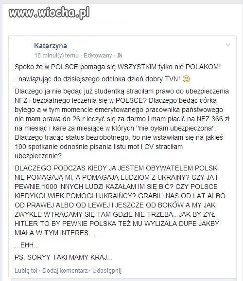 Dla Ukrainy pomoc a Polaków rząd ma w dupie!