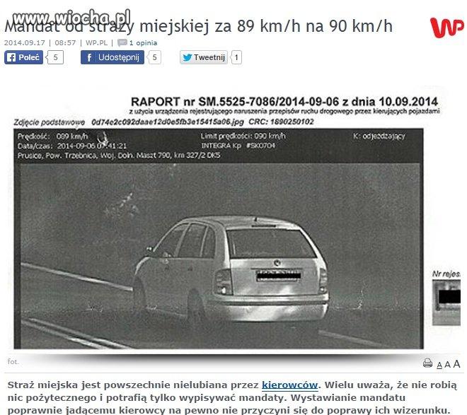 Ograniczenie 90 km/h jedziesz 89 a i tak mandat