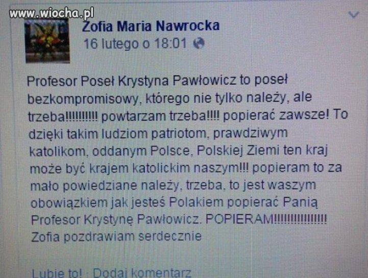 Macie obowiązek popierać posłankę Pawłowicz