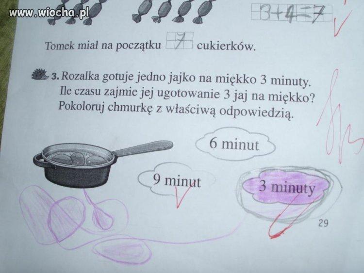 1 jajko gotujemy 3 min, a 3 jajka...?
