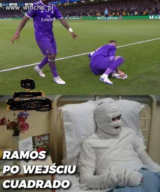 Sergio Ramos po brutalnym faulu Cuadrado