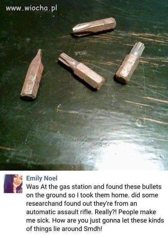 Emily znalazła pociski na stacji benzynowej