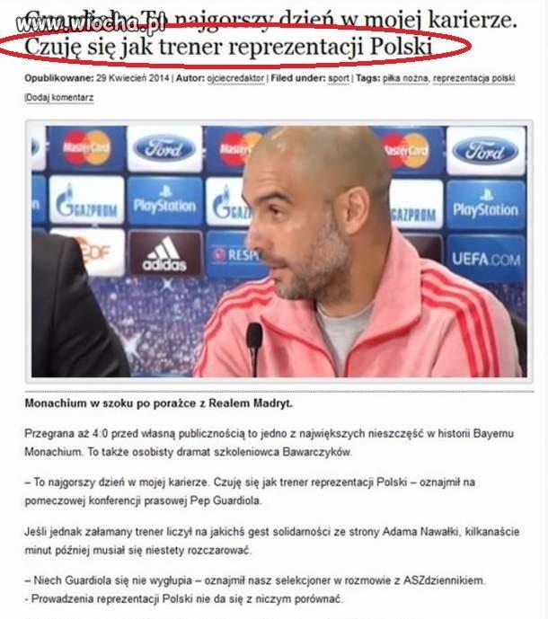 Czuje się jak trener reprezentacji polski