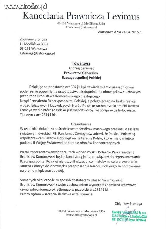 Doniesienie na Prezydenta Bronisław Komoroskiego