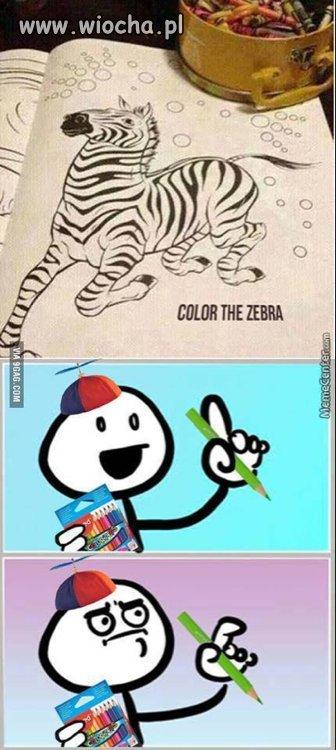 Pokoloruj zebrę