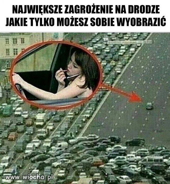 Zagrożenie na drodze.