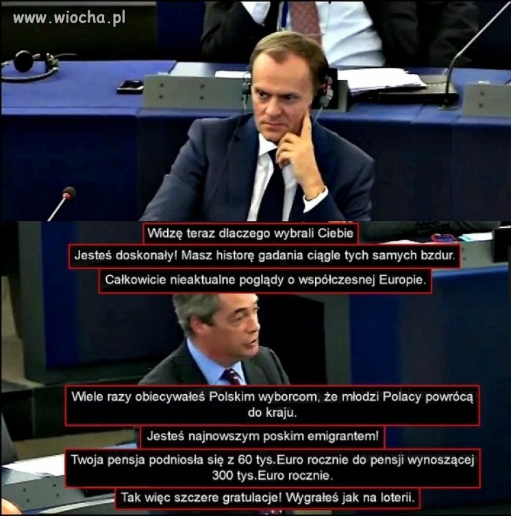 NIGEL FARAGE DO TUSKA W PE.