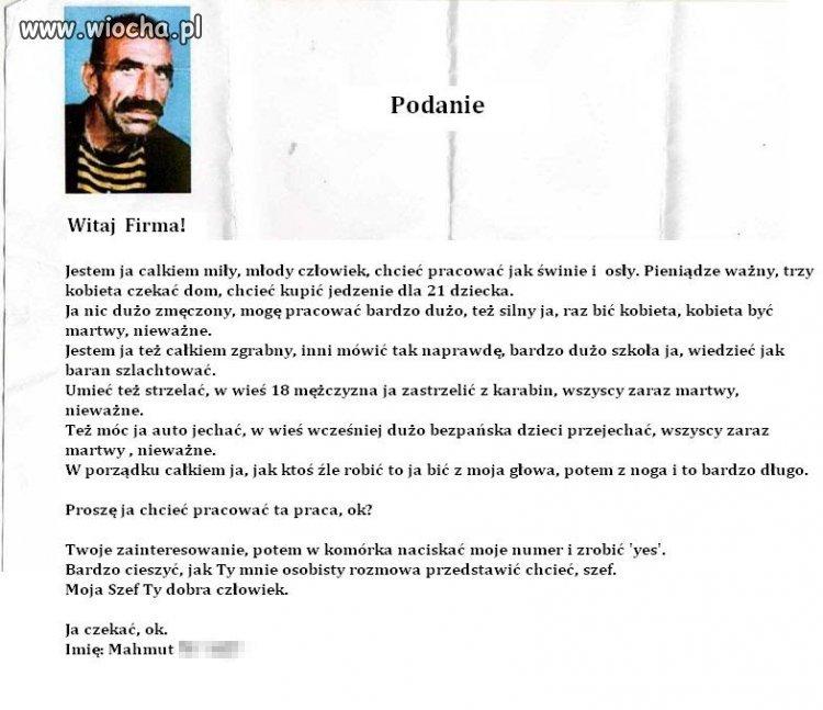 Podanie o pracę Turka w Niemczech