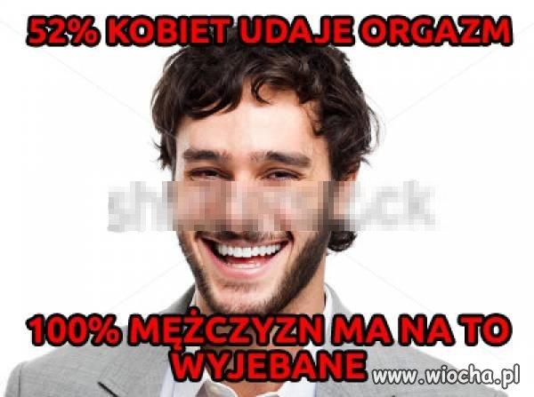 52% kobiet udaje orgazm!